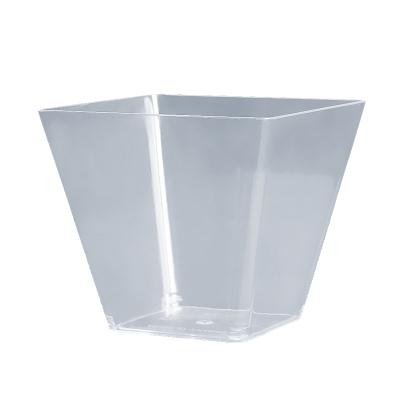 【200ml 木糠杯帶蓋 100個 兩箱裝 】一次性方杯杯透明PS塑料杯飲水杯宣傳杯