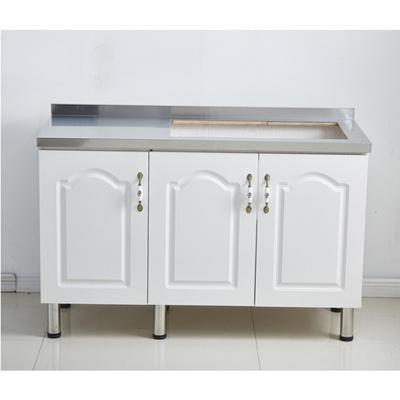櫥柜廚房柜簡易櫥柜定制櫥柜碗櫥柜灶臺柜水池柜不銹鋼廚柜經濟型 3門右雙灶臺 1.3米