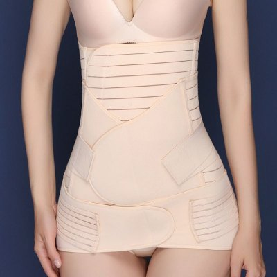 黛立香束身用品 2020女士修身帶高腰胃部帶中腰收腹帶低腰盆骨帶產后束身腰帶產婦收腹帶三件套產婦順產破腹產通用款