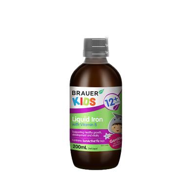 【果味活性补铁剂】澳洲小绿瓶Brauer蓓澳儿铁+维生素B口服液200ml 1岁以上 孕婴童专用铁
