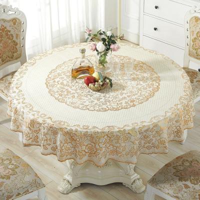 防水防油防燙免洗加厚PVC臺布塑料大圓形餐桌布歐式覆膜圓桌桌布