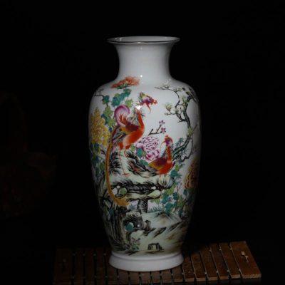 景德镇五彩凤凰花瓶装饰陶瓷摆件客厅展示柜陶瓷摆件新居五彩花瓶