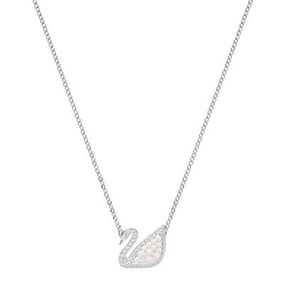【直营】施华洛世奇(SWAROVSKI) ICONIC SWAN白金色天鹅项链女锁骨链仿珍珠 人造水晶 送恋人
