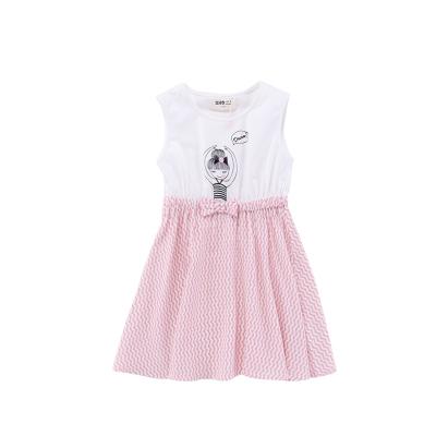 Жижиг улаан буурцагны хүүхдийн хувцас худалдааны төв нь ижил хэмжээтэй охидын зуны хувцаслалт, pleated юбка оёдог гадаад загвартай GXQ533KB3 130cm ягаан