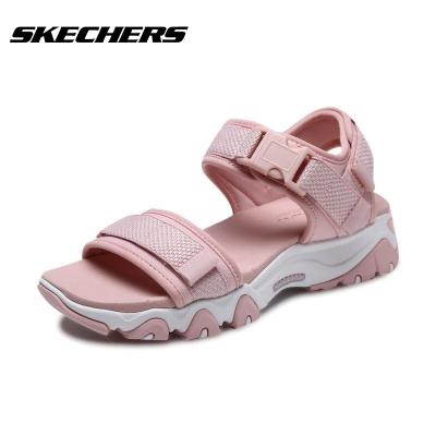 Skechers斯凱奇夏季復古厚底露趾涼鞋女子魔術貼沙灘鞋88888160