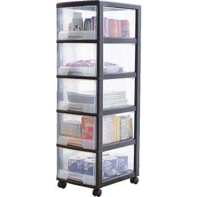 JEKO&JEKO 可移动深五层柜透明塑料儿童衣柜宝宝收纳盒储物抽屉式收纳柜子整理收纳箱带滑轮 SWB-519