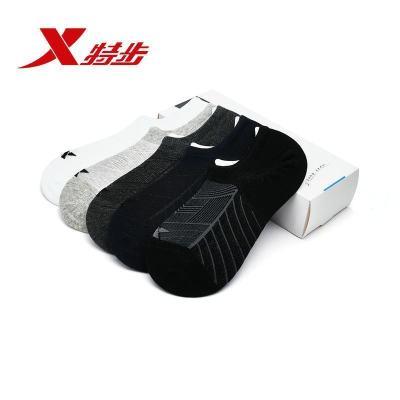 特步(Xtep)袜子低帮男子船袜夏季正品休闲跑步健身运动袜短筒男袜5双装