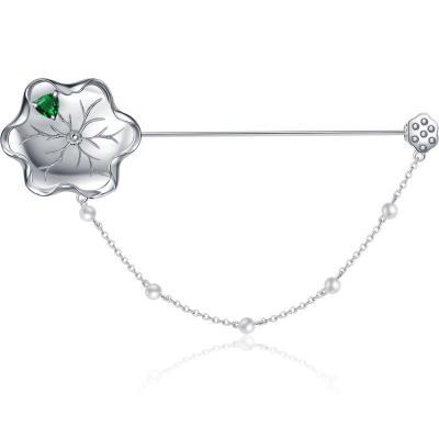 江南·原創設計 99純銀胸針女外套別針開衫珍珠胸花大衣大氣配飾