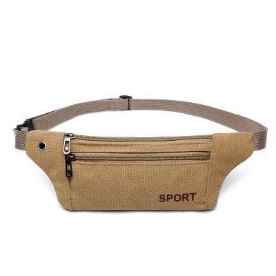 三层纯帆布腰包贴身手机包收银胸包男女户外跑步运动贴身超薄