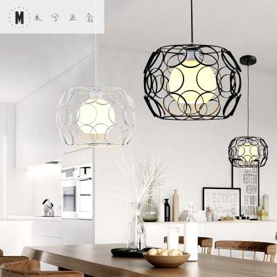 蒹葭MUXI北欧简约现代餐厅吊灯创意个性led吧台卧室单头三头玻璃铁艺吊灯 单头黑色+玻璃罩子
