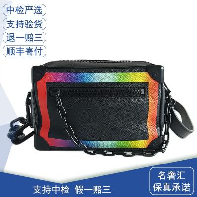 【正品二手95新】路易威登(LV)MINI SOFT TRUNK M30351 迷你號 黑色 炫彩邊 軟盒子 挎包 全套
