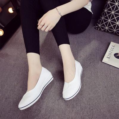 護士鞋女白色坡跟2019新款美容鞋小白鞋老北京布鞋平底女鞋莎丞