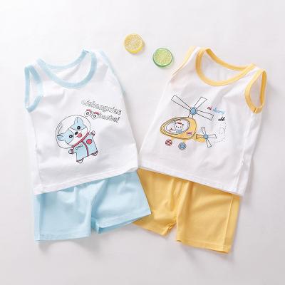 兒童套裝背心夏季純棉無袖上衣短褲男女寶寶新款