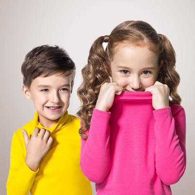 安奈儿童装女童纯棉高领打底衫男童长袖T恤冬季内搭保暖上衣1031