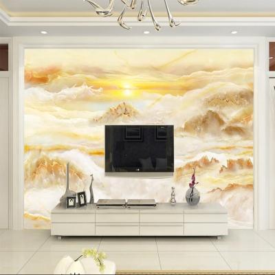 5d電視背景墻紙歐式客廳影視墻布8d立體旭日東升仿大理石紋壁畫