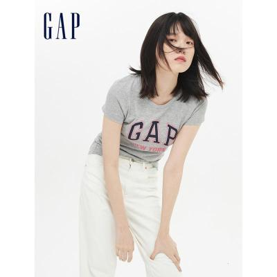 Gap女裝圓領短袖T恤夏季254129 E City系列LOGO印花女士上衣