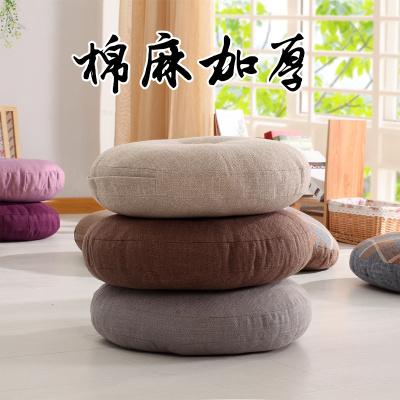 坐垫棉麻坐垫 加厚布艺小圆形日式阳台飘窗榻榻米垫子