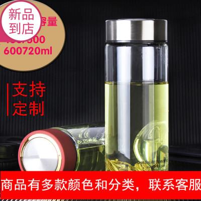 水杯男士 单层玻璃杯茶杯加厚耐热高档个性简约随手杯500ml大容量