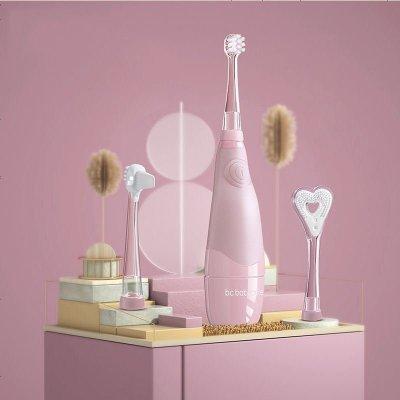 babycare兒童電動牙刷 帶LED燈防水軟毛低震聲波1-3歲寶寶牙刷 珀爾里粉