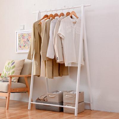 家逸簡約現代實木衣帽架木質掛衣架落地臥室門廳晾衣架可折疊木質晾曬架