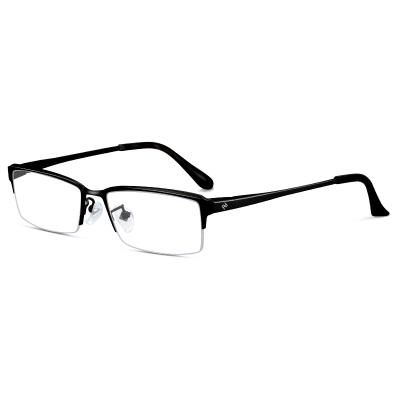 普萊斯近視眼鏡 男半框純鈦眼鏡架商務黑框眼睛框鏡架男眼鏡框男士1850N黑色0.016