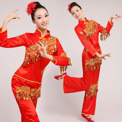 秧歌服2020中老年扇子舞廣場舞套裝民族舞蹈服裝演出服成人女 紅色