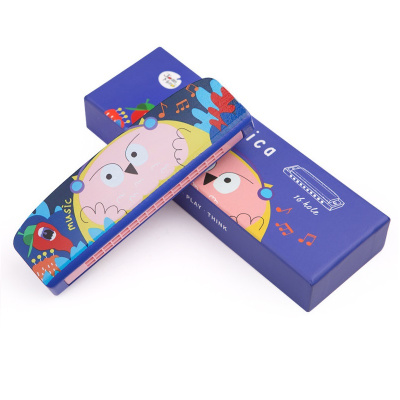Joan Miro美樂 兒童口琴玩具寶寶初學音樂吹奏樂器卡通動物木質安全口風琴 貓頭鷹布布款 益智玩具 音樂玩具