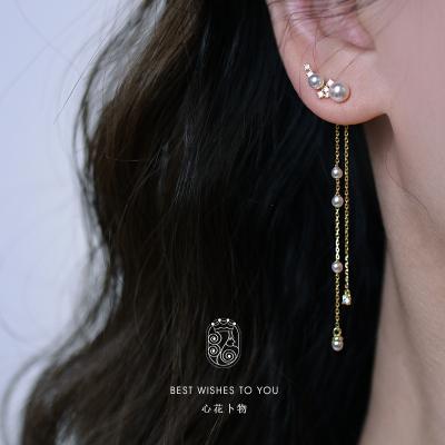 花語詩月心花卜物 珍珠流蘇耳環長仙925銀女氣質設計耳飾2020新款潮