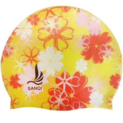 三奇防水花色 成人硅胶游泳帽女士长短护耳 时尚可爱高弹力