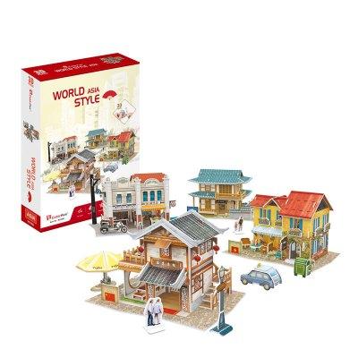 米圣藍樂立方3D立體拼圖紙模型拼裝拼插玩具 東南亞亞洲世界風情名建筑迷你兒 【禮盒裝4件套】亞洲風情(送配件)