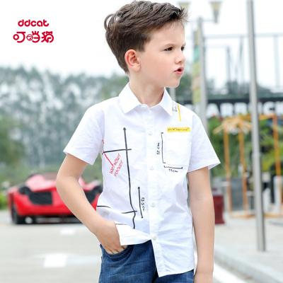叮當貓童裝男童韓版短袖襯衣中大童翻領襯衫男孩時尚夏裝休閑上衣