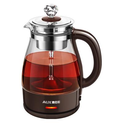 奧克斯煮茶器HX-Z1001H蒸汽萃取高硼硅玻璃 304不銹鋼黑茶煮茶壺家用全自動蒸汽玻璃電熱花茶普洱蒸茶壺 標準款