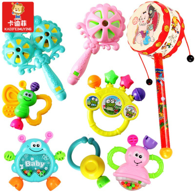 貓太子【易購優選】嬰兒玩具3-6-12個月兒搖鈴 0-1歲寶寶早教幼兒手搖鈴牙膠 七件套+撥浪鼓