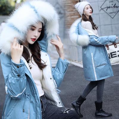 芷臻zhizhen大毛领棉衣女中长款冬装2019年新款韩版收腰派克棉服加厚外套潮