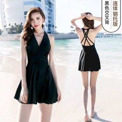 佑游泳衣女泡温泉保守显瘦遮肚性感韩国连体裙式大码泳装