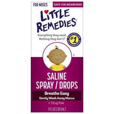美國進口(Little Remedies)嬰幼兒生理海鹽水滴鼻劑噴霧通鼻塞液洗鼻30ml