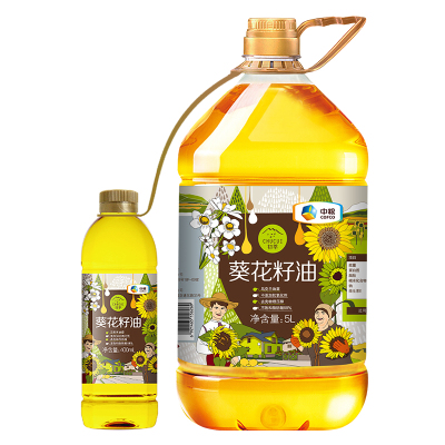 中粮初萃(CHUCUI) 葵花籽油5L+400ml, 压榨一级葵花籽油 桶装 粮油食用油