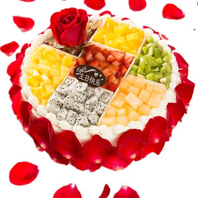 奶油水果玫瑰生日蛋糕 全國同城配送 廣州上海南京蘇州北京當日現做送達8寸