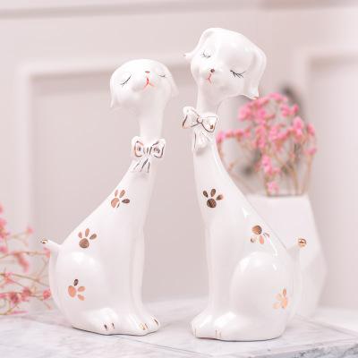 創意現代簡約家居飾品擺件客廳酒柜陶瓷可愛小狗擺設新房軟裝飾品