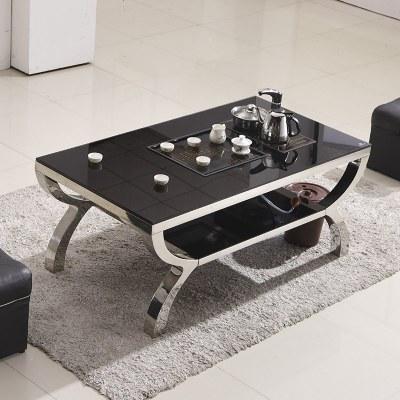 简约茶几钢化玻璃乌金石茶盘自动上水泡茶桌茶台茶具不锈钢家具