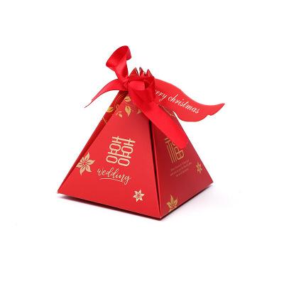 【50個裝】糖果喜糖盒婚禮結婚韓版創意禮品盒訂做飾品包裝盒禮品紙盒 【50個裝】粉色英文(粉繩)