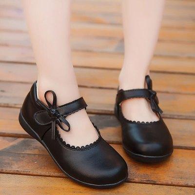 迪鲁奥(DILUAO)儿童小皮鞋女童鞋黑色春秋中大童小女孩子公主鞋白色真皮豆豆单鞋学生单鞋学校学生表演出鞋子正装礼服合唱