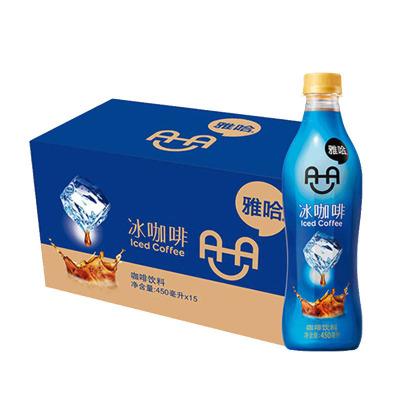 雅哈咖啡饮料冰咖啡 精选哥伦比亚咖啡豆 450ml*15瓶