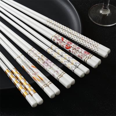 銳旭 陶瓷骨瓷筷子雙尖頭骨瓷酒店家用中式防滑防燙抗菌耐摔耐高溫禮盒套裝