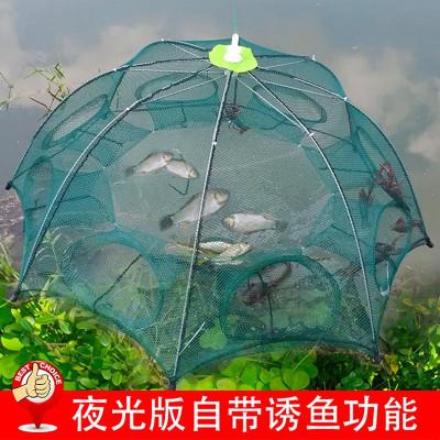 鱷圖騰蝦籠捕蝦網折疊捕魚工具自動漁網捕魚籠抓魚龍蝦手拋網泥鰍黃鱔籠
