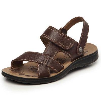 OKANG)男士凉鞋真皮夏季透气凉鞋休闲魔术贴软底沙滩鞋 男