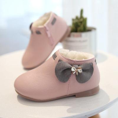 冬季女童鞋保暖加厚长毛绒大棉鞋蝴蝶结儿童鞋公主鞋皮鞋宝宝短靴威珺