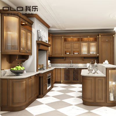 我乐厨柜 欧式尊贵都灵 橱柜定做整体厨房定制 家用石英石台面