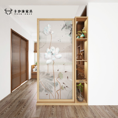 卡汐沐中式屏風柜廳實木置物架客廳簡約現代入戶雙面隔斷柜玄關 座屏