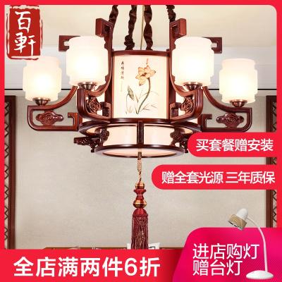 百軒(BAIXUAN) 現代中式吊燈客廳餐廳門廳/過道燈具木質/竹質復古LED燈具工程大廳別墅復式吊燈燈具6882